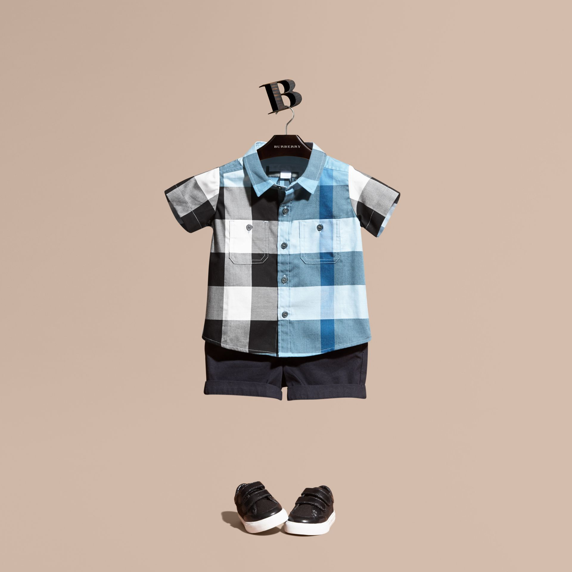 Short-sleeved Check Cotton Shirt Pale Blue - gallery image 1