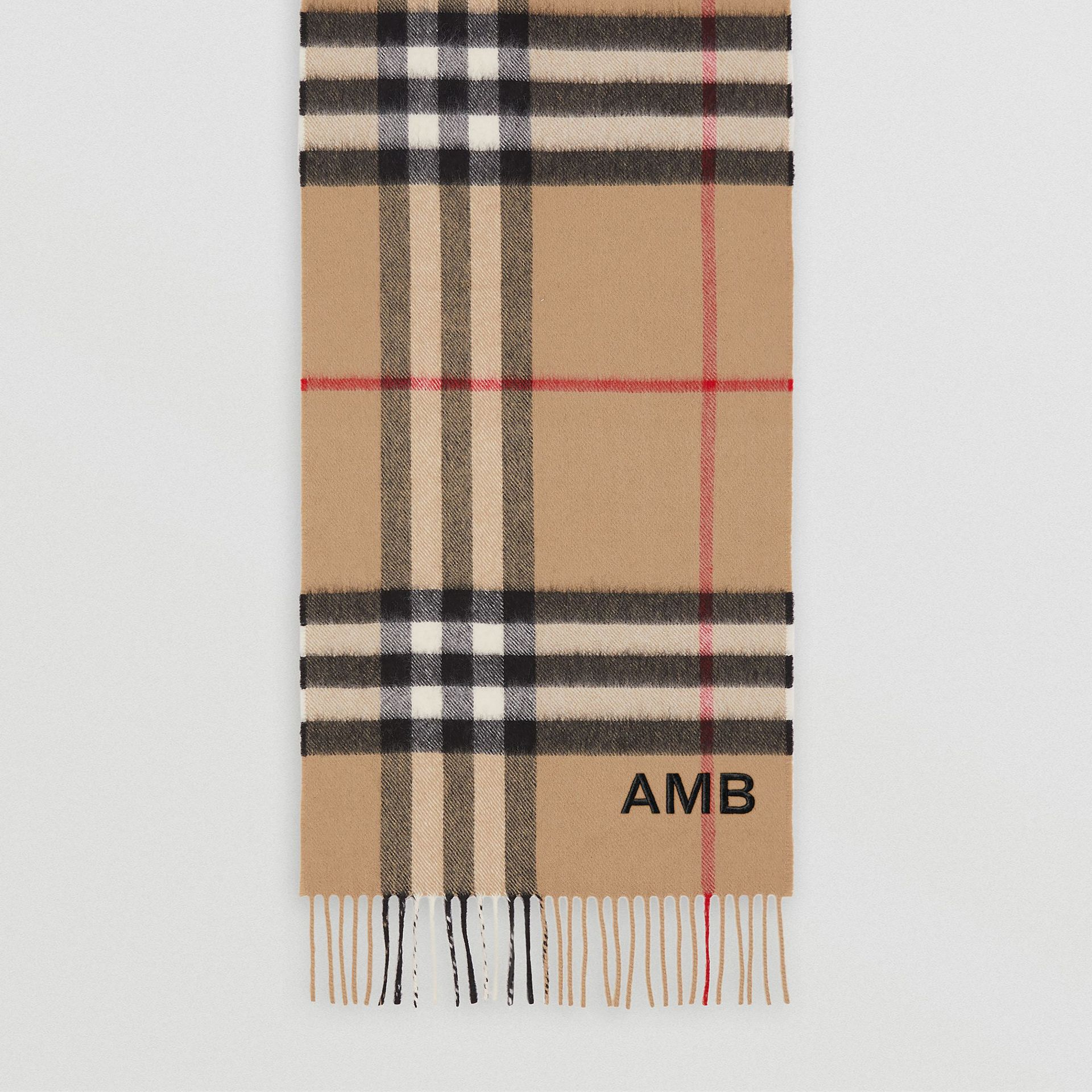 The Classic Check Cashmere Scarf in Archive Beige | Burberry United States - gallery image 9