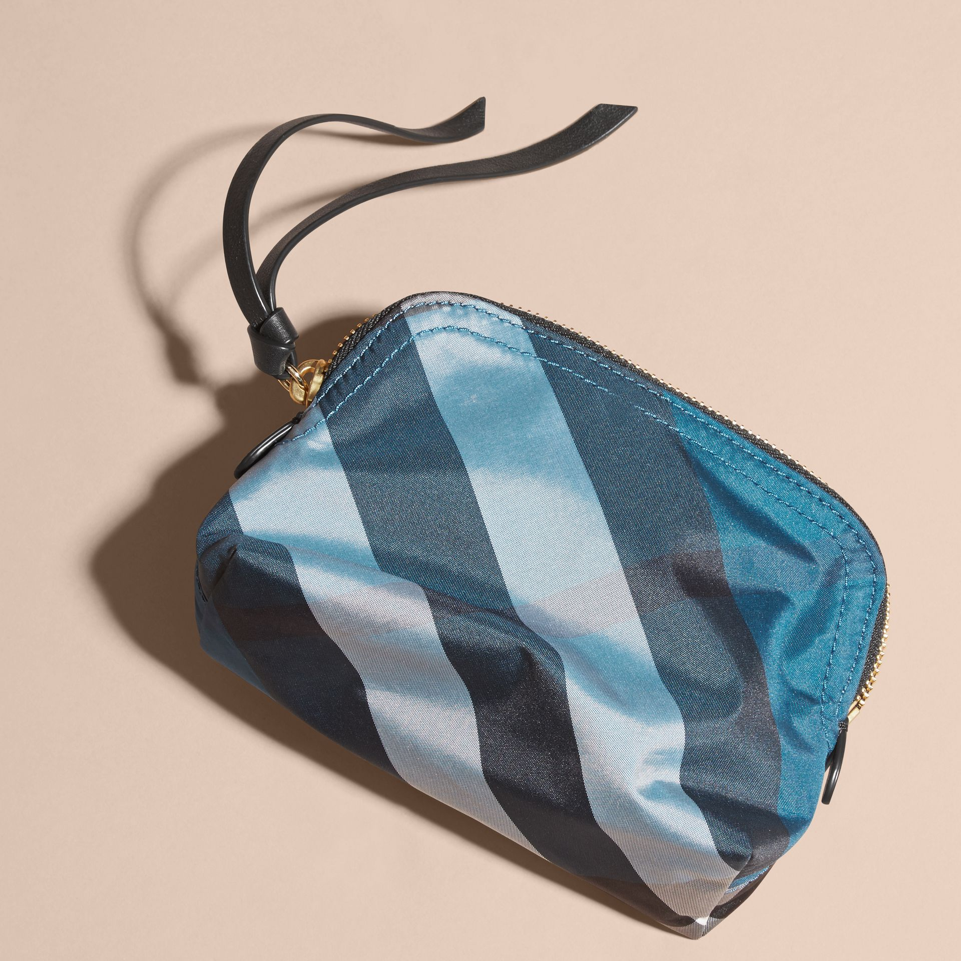 Marine blue Small Zip-top Check Pouch Marine Blue - gallery image 4