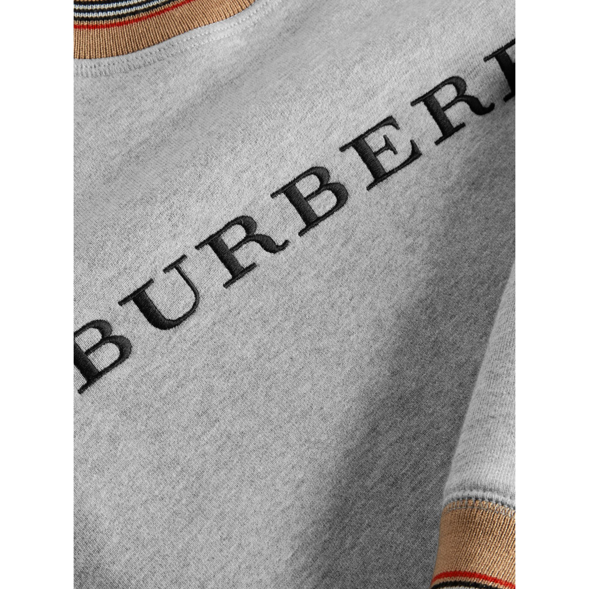 Heritage Stripe Detail Embroidered Cotton Sweatshirt in Grey Melange | Burberry Singapore - gallery image 1