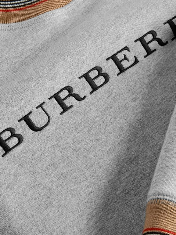 Icon Stripe Detail Embroidered Cotton Sweatshirt in Grey Melange | Burberry Canada - cell image 1