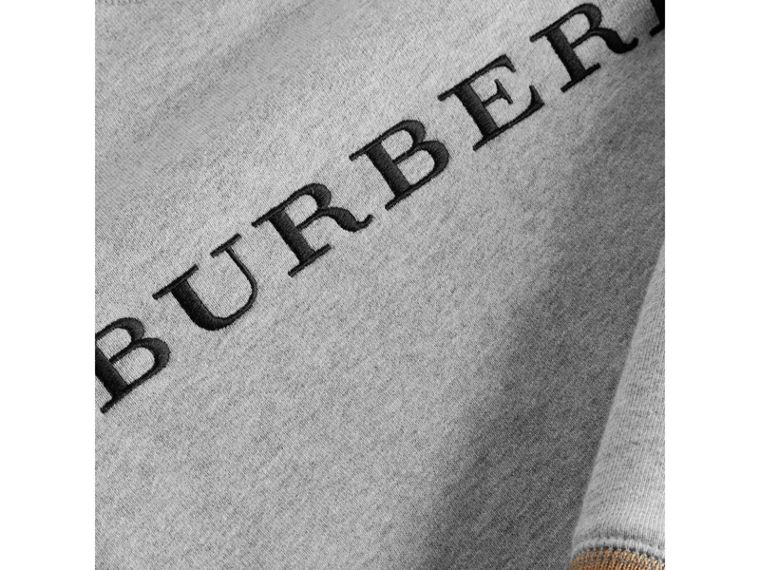 Heritage Stripe Detail Embroidered Cotton Sweatshirt in Grey Melange - Boy | Burberry - cell image 1