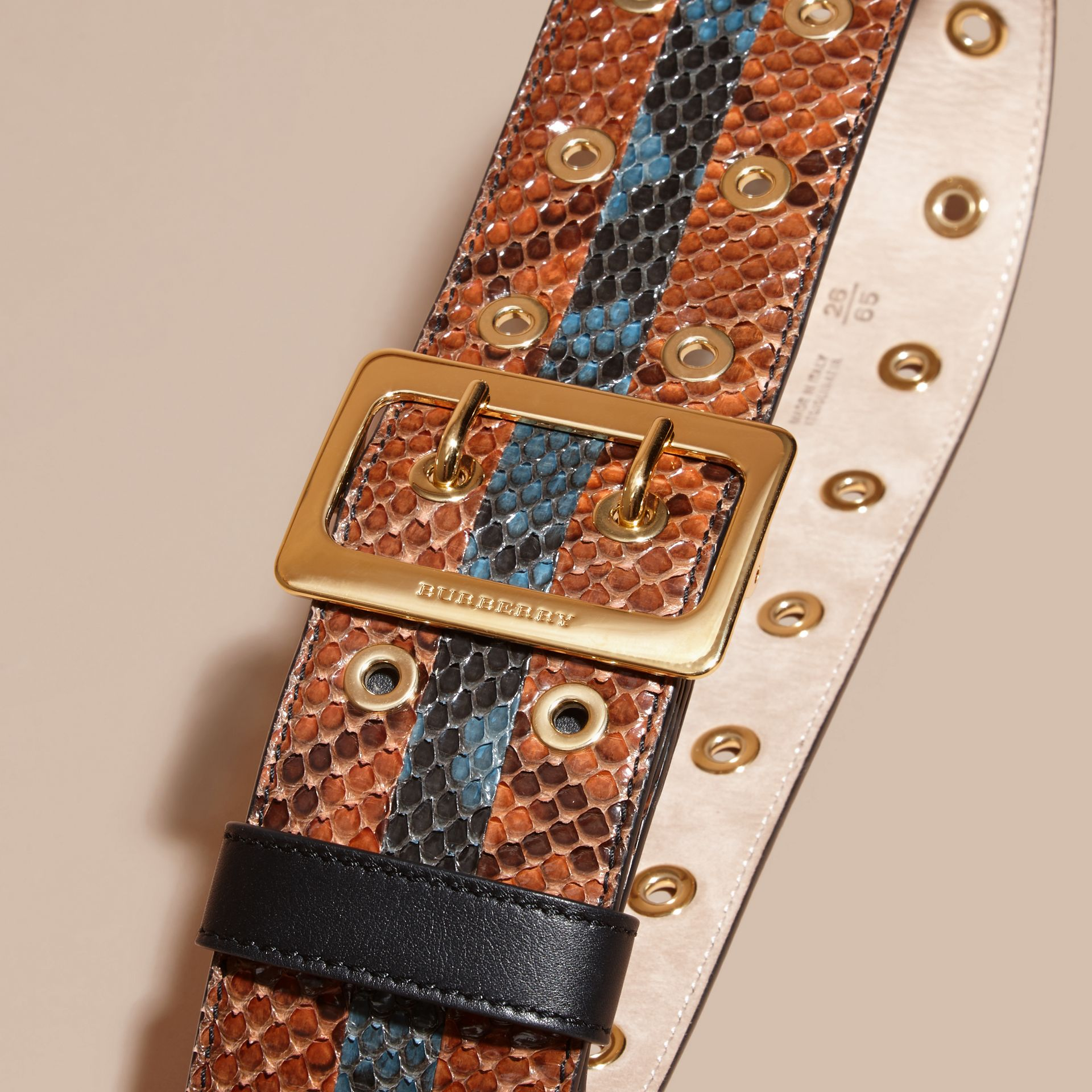 Striped Snakeskin Waist Belt in Tan/mineral Blue - Women | Burberry Singapore - gallery image 2