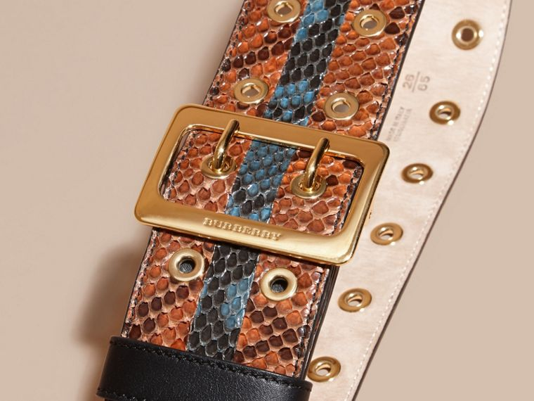 Striped Snakeskin Waist Belt in Tan/mineral Blue - cell image 1