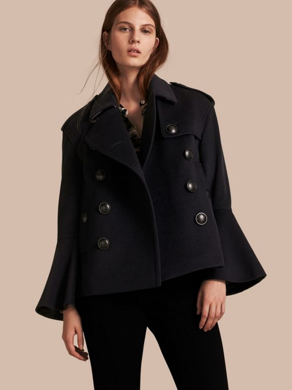 Wool Cashmere Pea Coat with Bell Sleeves
