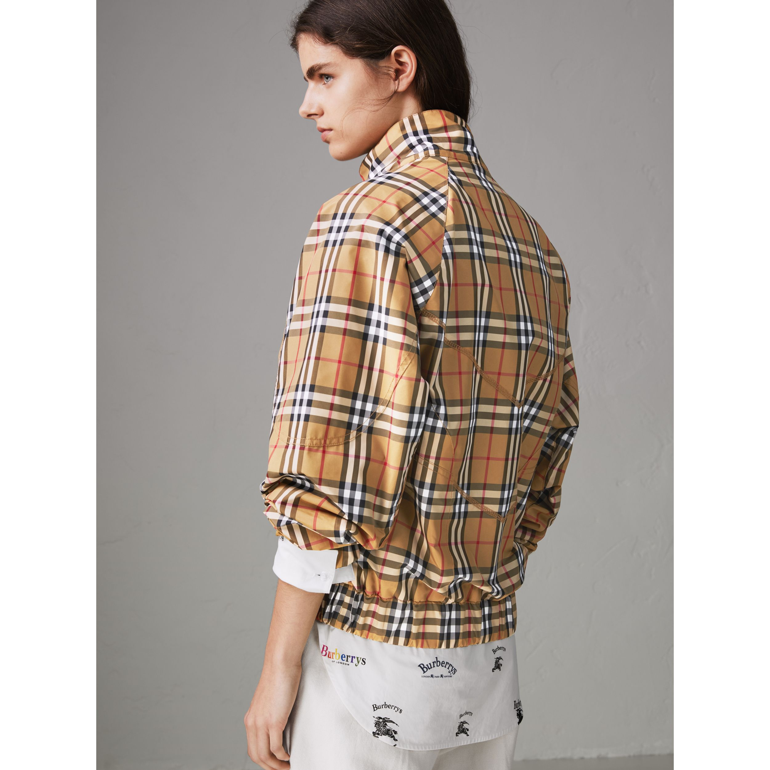 Topstitch Detail Vintage Check Harrington Jacket in Antique Yellow - Women | Burberry - 3