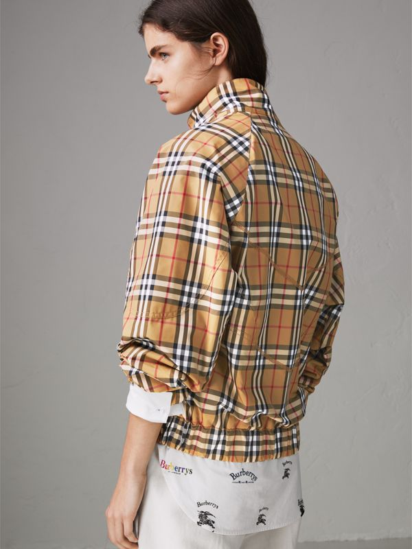 Topstitch Detail Vintage Check Harrington Jacket in Antique Yellow - Women | Burberry Australia - cell image 2
