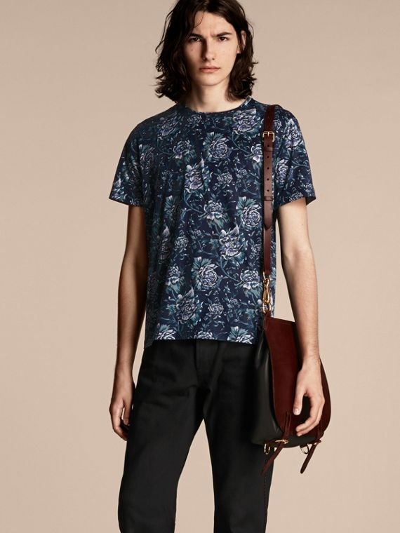 Peony Rose Print Cotton T-Shirt