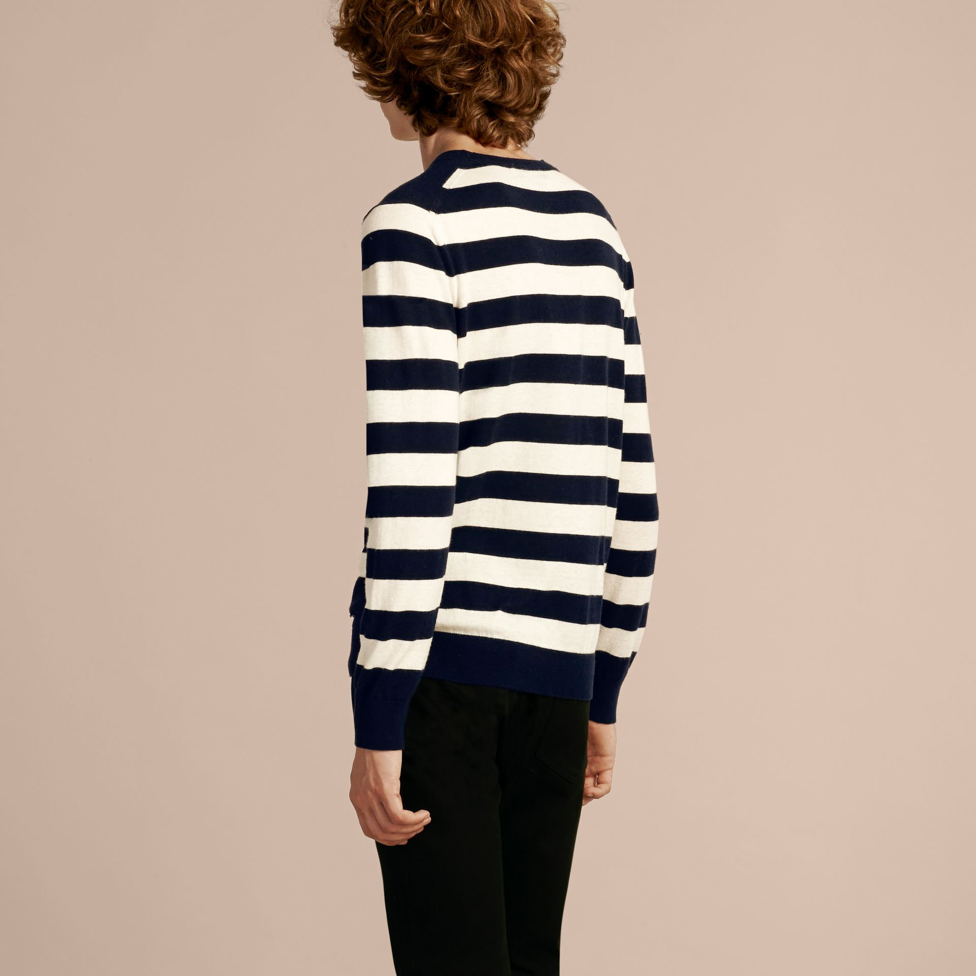 Striped Cashmere Cotton Sweater Navy - gallery image 3