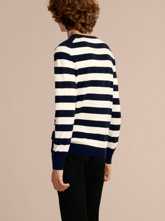 Striped Cashmere Cotton Sweater Navy - cell image 2