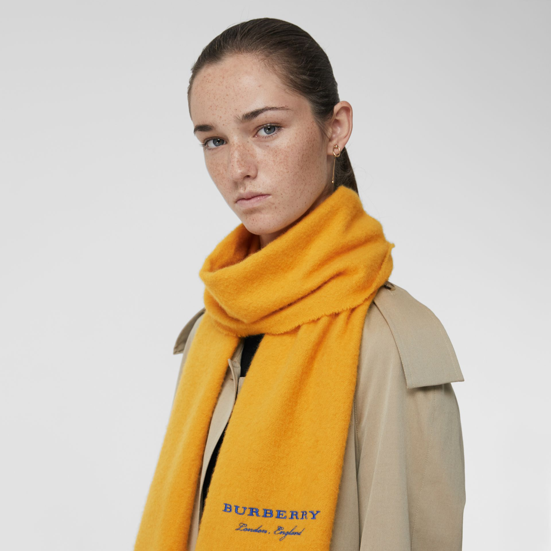 Embroidered Cashmere Fleece Scarf in Saffron Yellow | Burberry Australia - gallery image 4