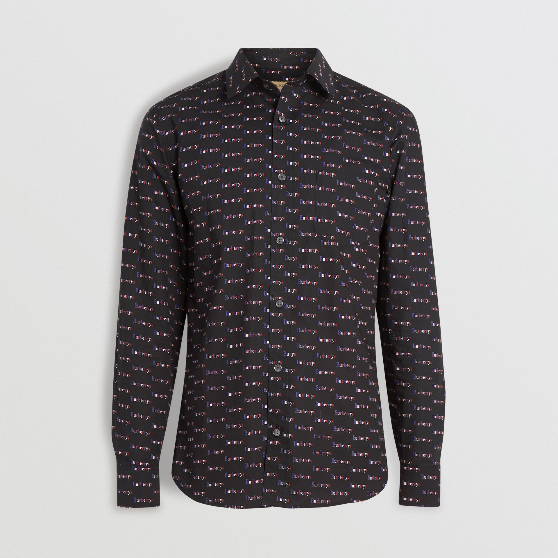 Logo Print Cotton Shirt in Black - Men | Burberry Australia - gallery image 3