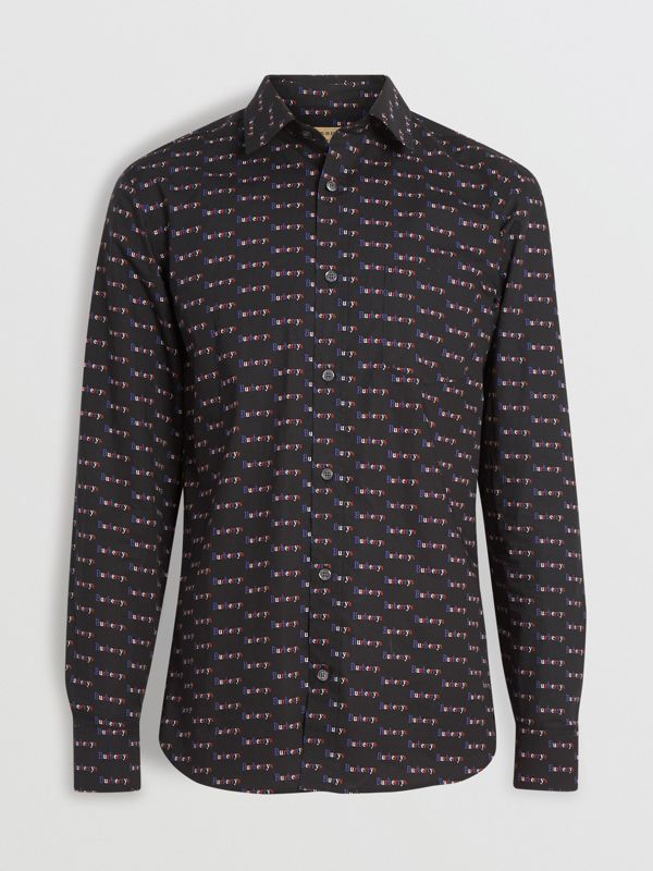 Logo Print Cotton Shirt in Black - Men | Burberry Australia - cell image 3