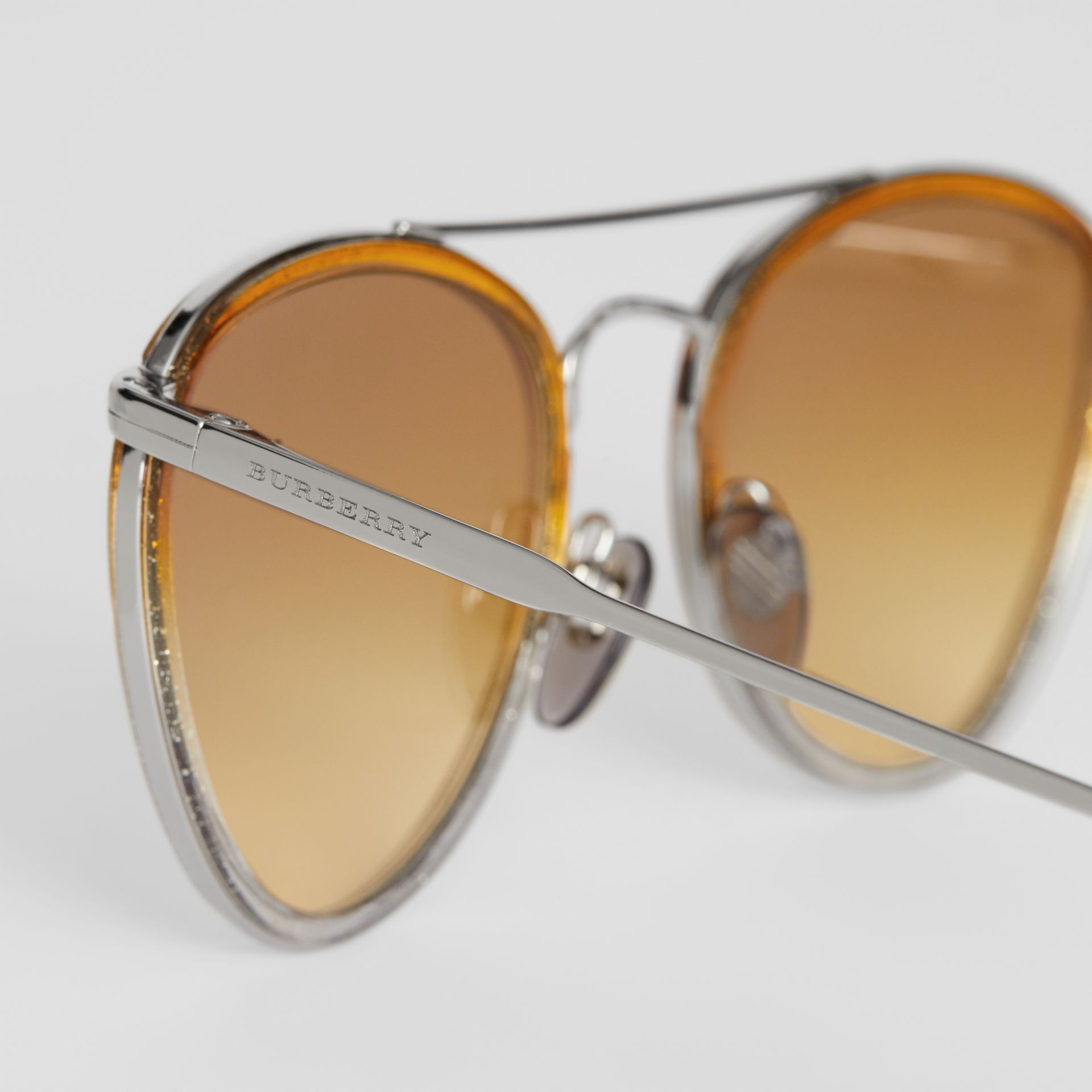 Glitter Detail Pilot Sunglasses in Yellow - Women | Burberry Australia - gallery image 1