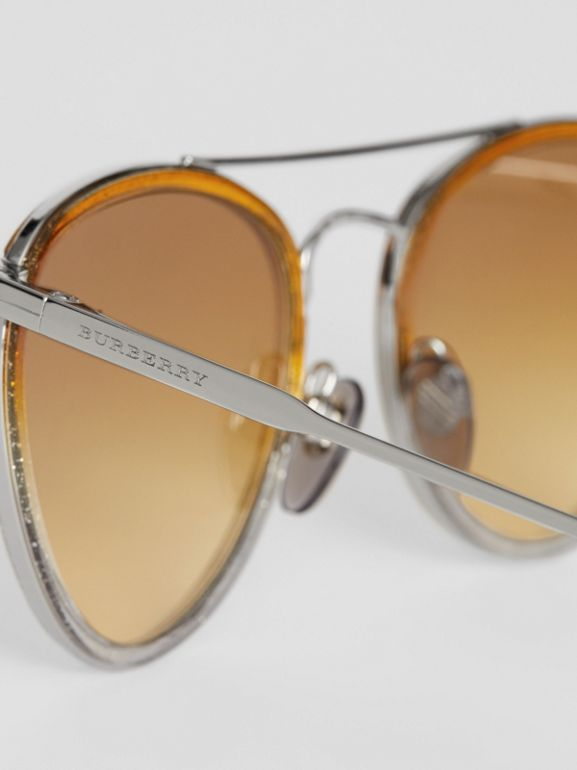 Glitter Detail Pilot Sunglasses in Yellow - Women | Burberry - cell image 1