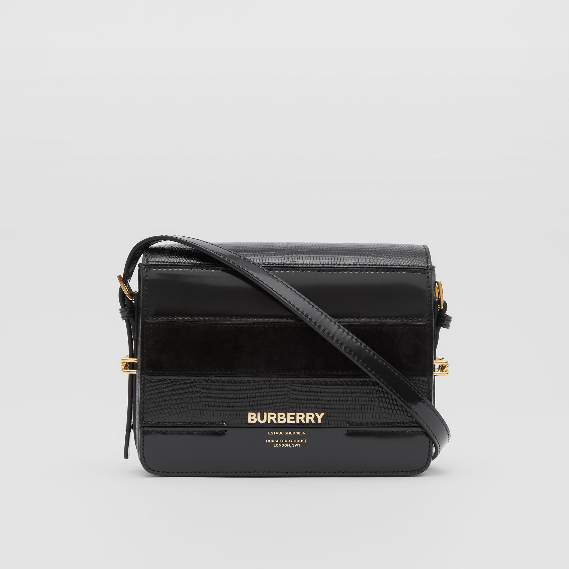 Small Panelled Deerskin and Suede Grace Bag in Black - Women | Burberry - gallery image 0