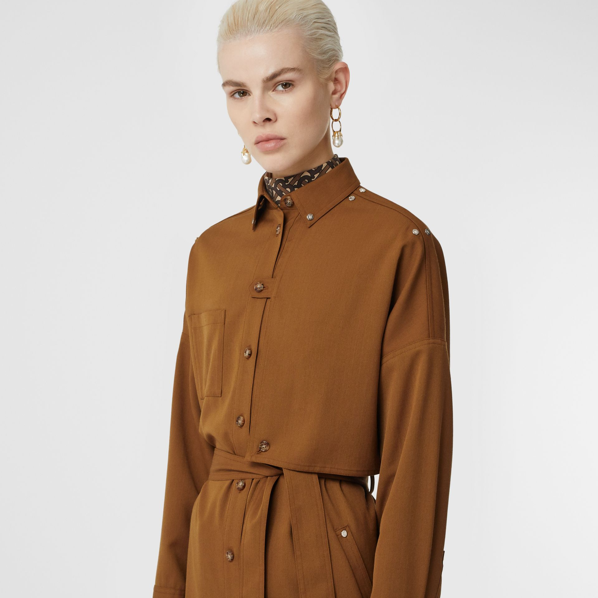 Wool Twill Blend Belted Shirt Dress in Maple - Women | Burberry United Kingdom - gallery image 1