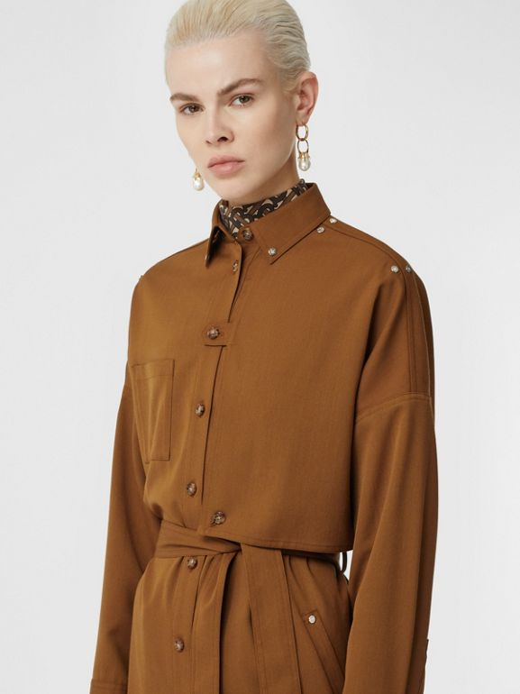 Wool Twill Blend Belted Shirt Dress in Maple - Women | Burberry United Kingdom - cell image 1