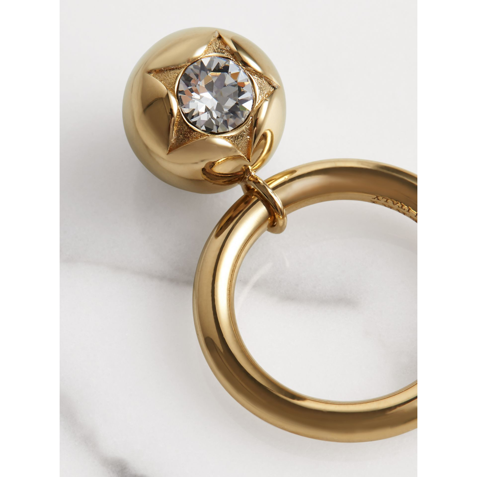 Crystal Charm Gold-plated Ring in Light Gold/crystal - Women | Burberry United Kingdom - gallery image 1