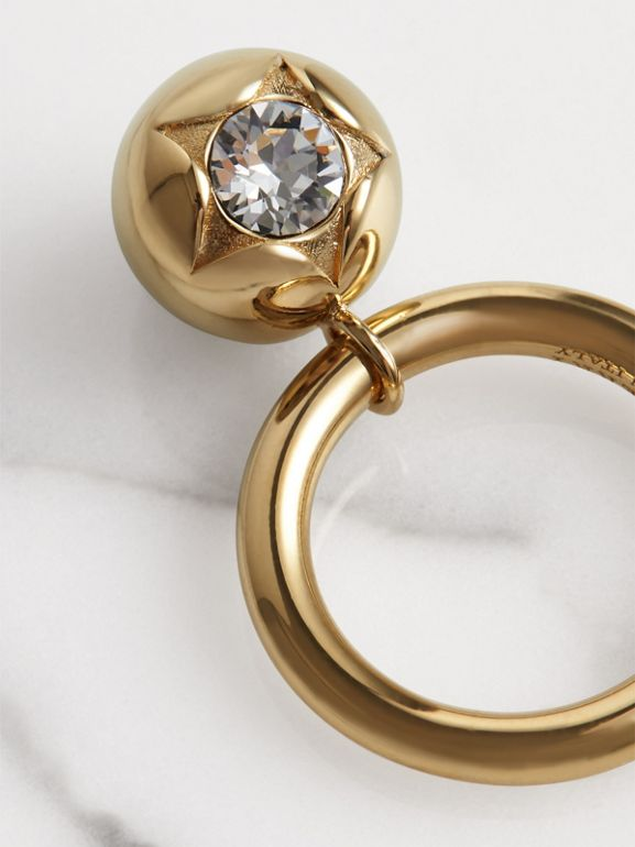 Crystal Charm Gold-plated Ring in Light Gold/crystal - Women | Burberry United Kingdom - cell image 1