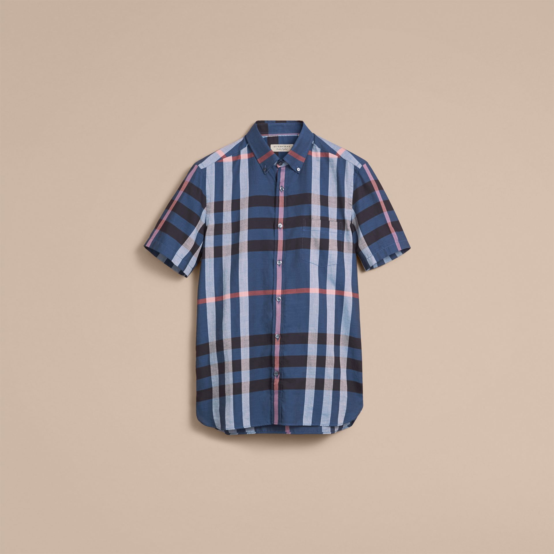Button-down Collar Short-sleeve Check Cotton Shirt in Ink Blue - gallery image 4
