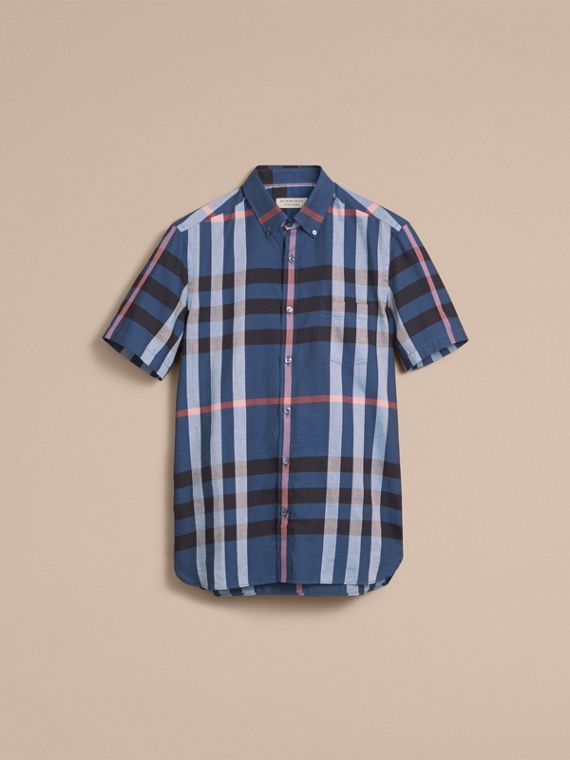 Button-down Collar Short-sleeve Check Cotton Shirt in Ink Blue - cell image 3
