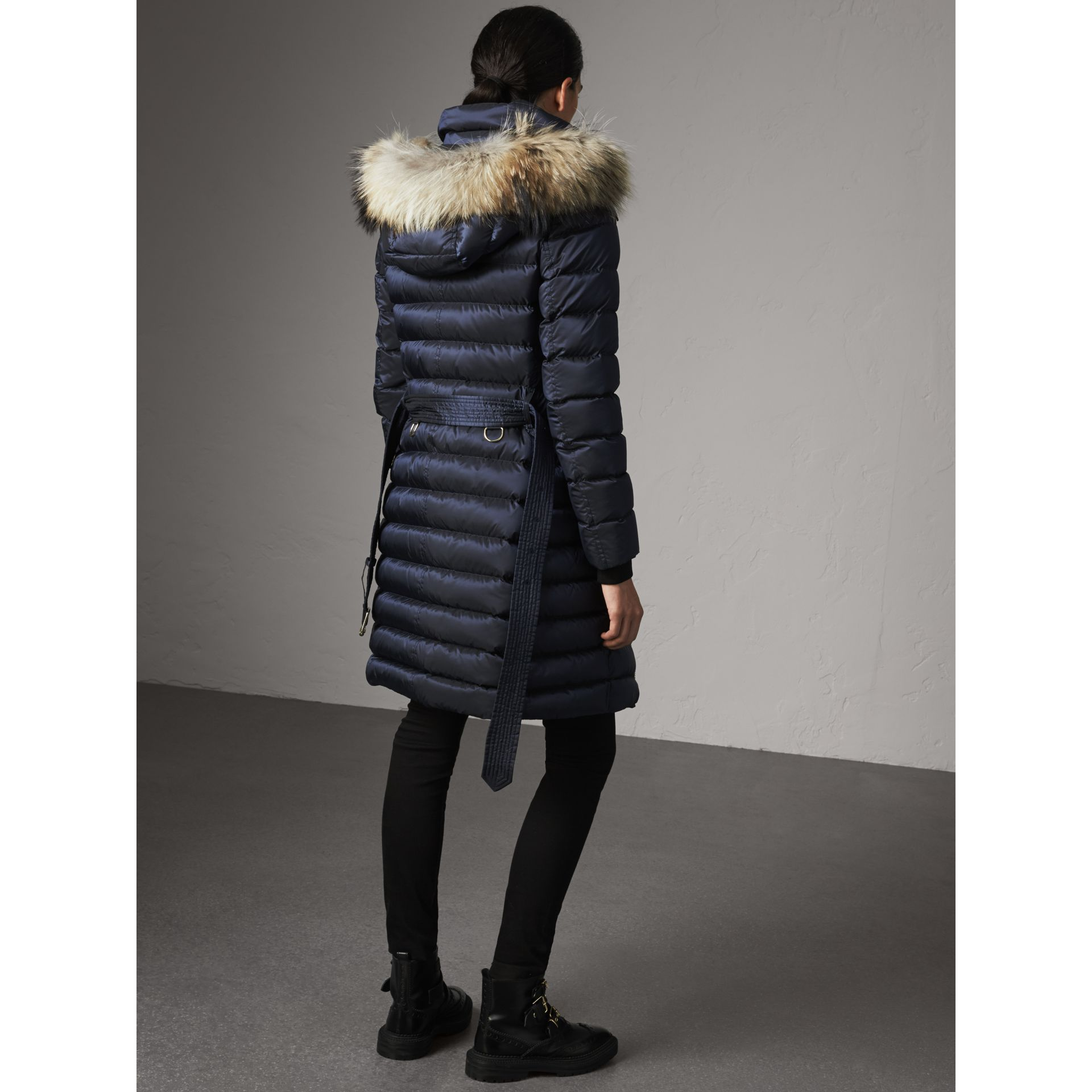 Detachable Fur Trim Down-filled Puffer Coat with Hood in Navy - Women | Burberry - gallery image 2