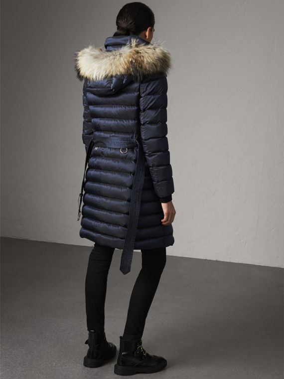 Detachable Fur Trim Down-filled Puffer Coat with Hood in Navy - Women | Burberry - cell image 2
