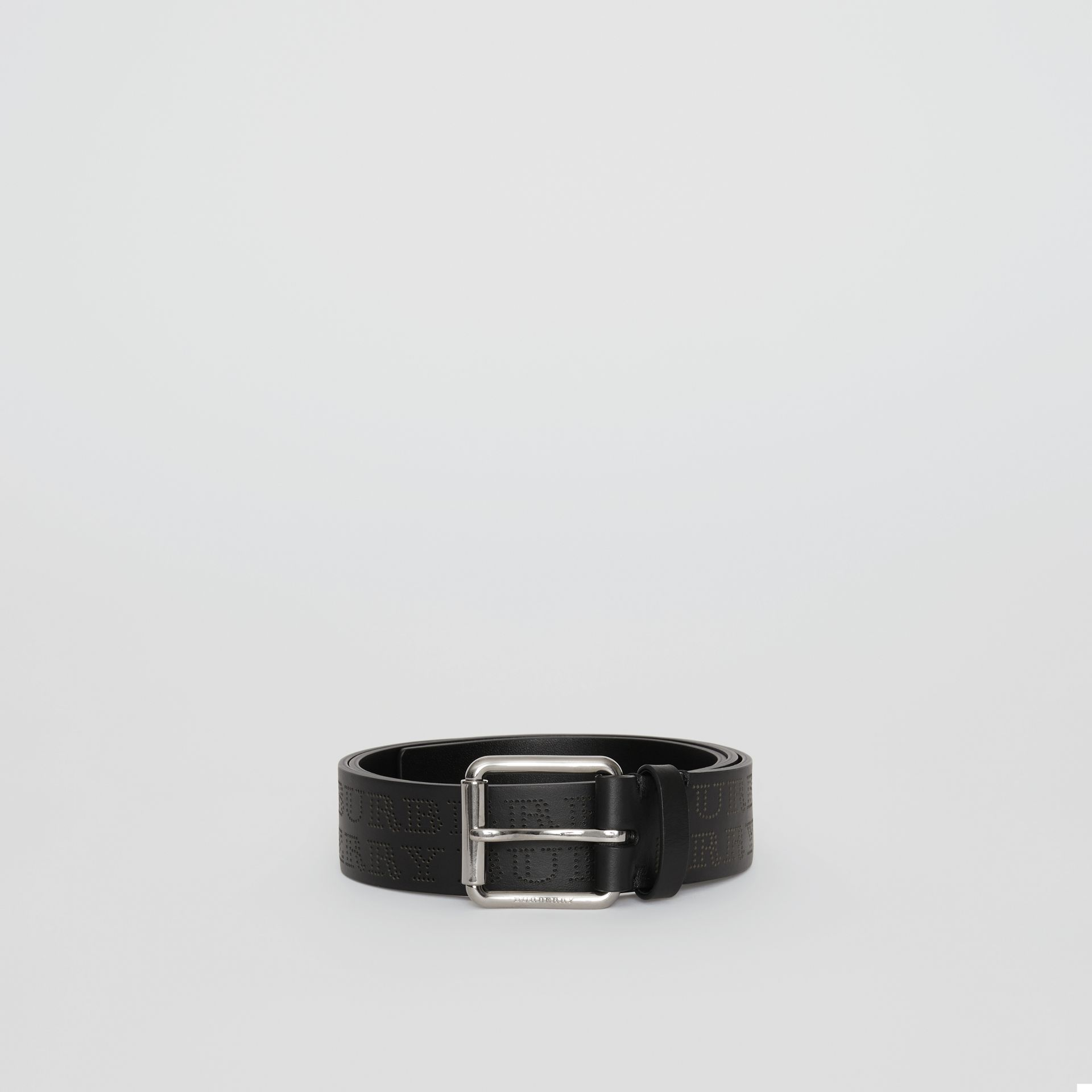 Perforated Logo Leather Belt in Black - Men | Burberry - gallery image 3