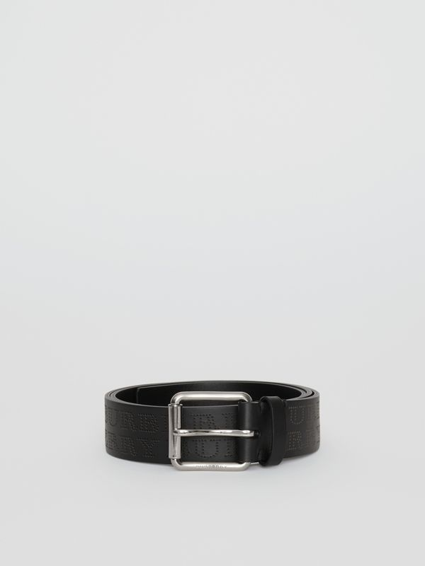 Perforated Logo Leather Belt in Black - Men | Burberry - cell image 3