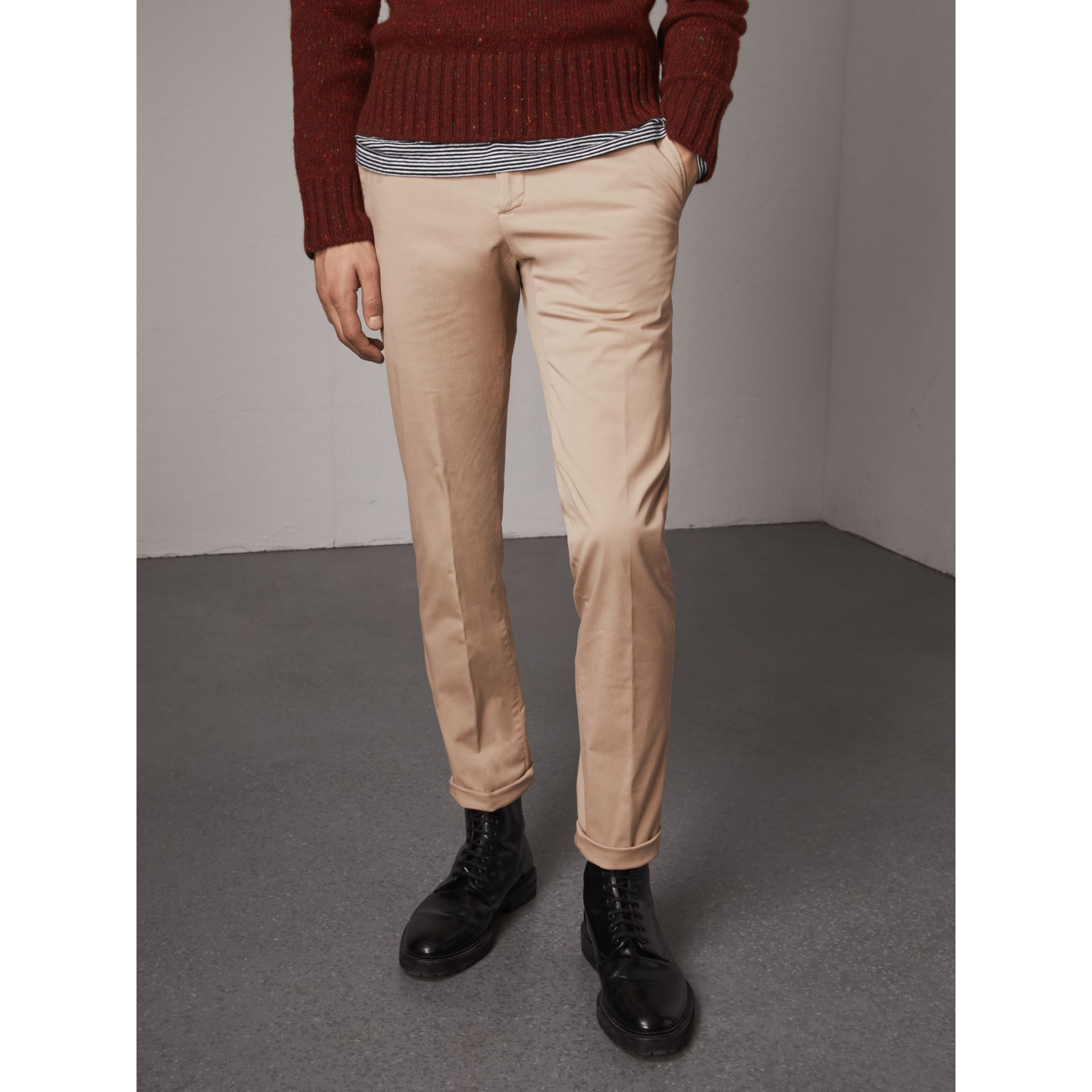 Slim Fit Stretch Cotton Chinos in Stone - Men | Burberry - gallery image 5