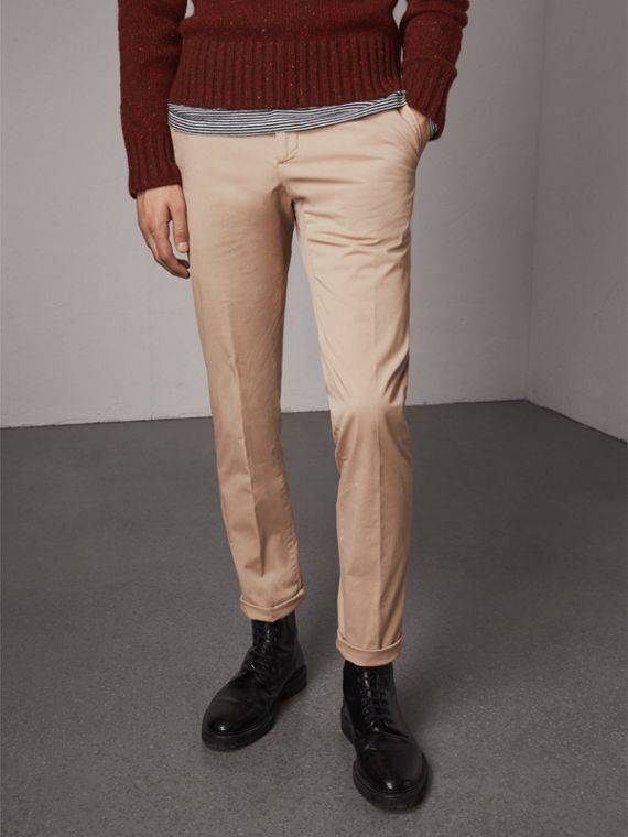 Slim Fit Stretch Cotton Chinos in Stone - Men | Burberry