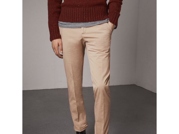Slim Fit Stretch Cotton Chinos in Stone - Men | Burberry - cell image 4