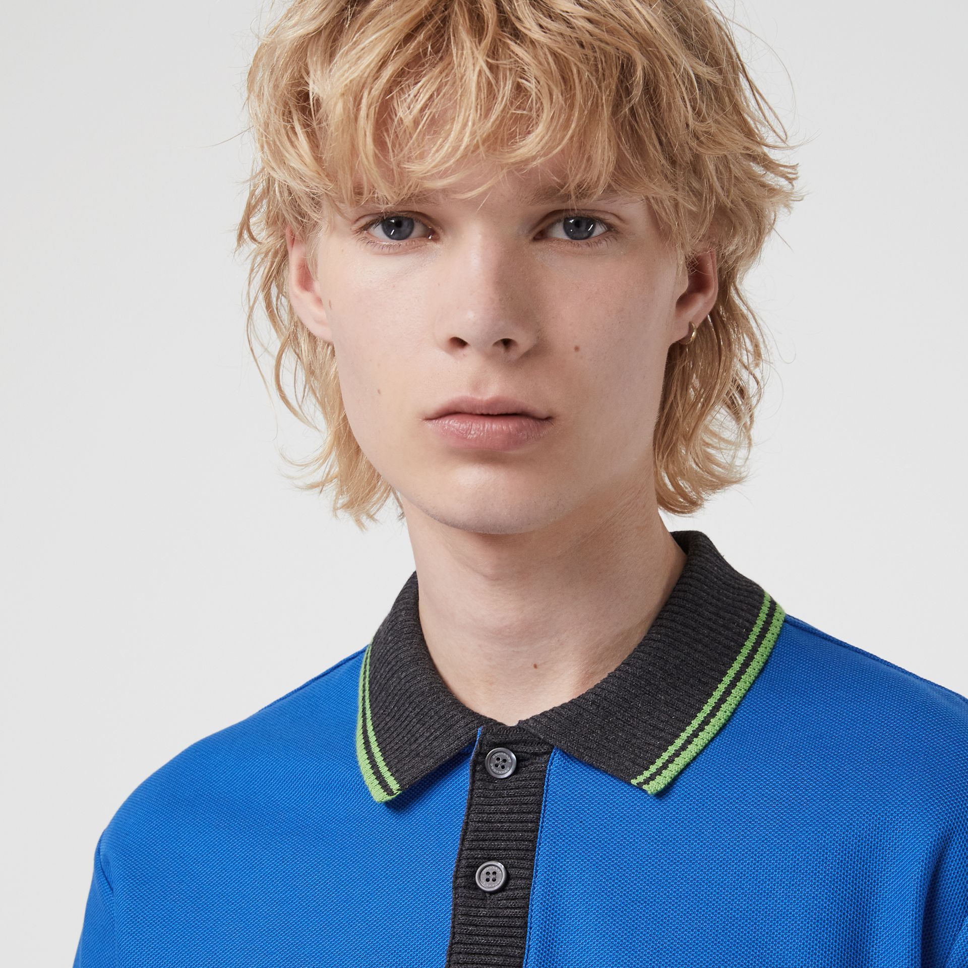 Tipped Cotton Piqué Polo Shirt in Cerulean Blue - Men | Burberry Canada - gallery image 1