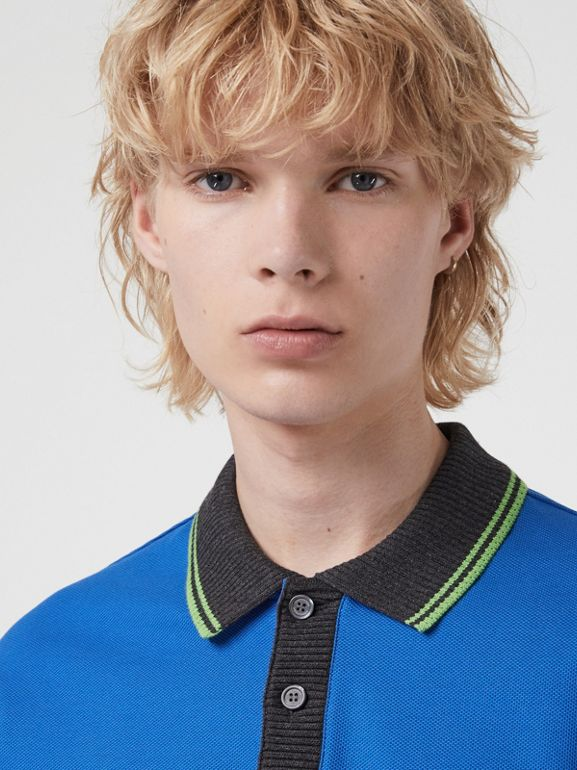 Tipped Cotton Piqué Polo Shirt in Cerulean Blue - Men | Burberry Canada - cell image 1