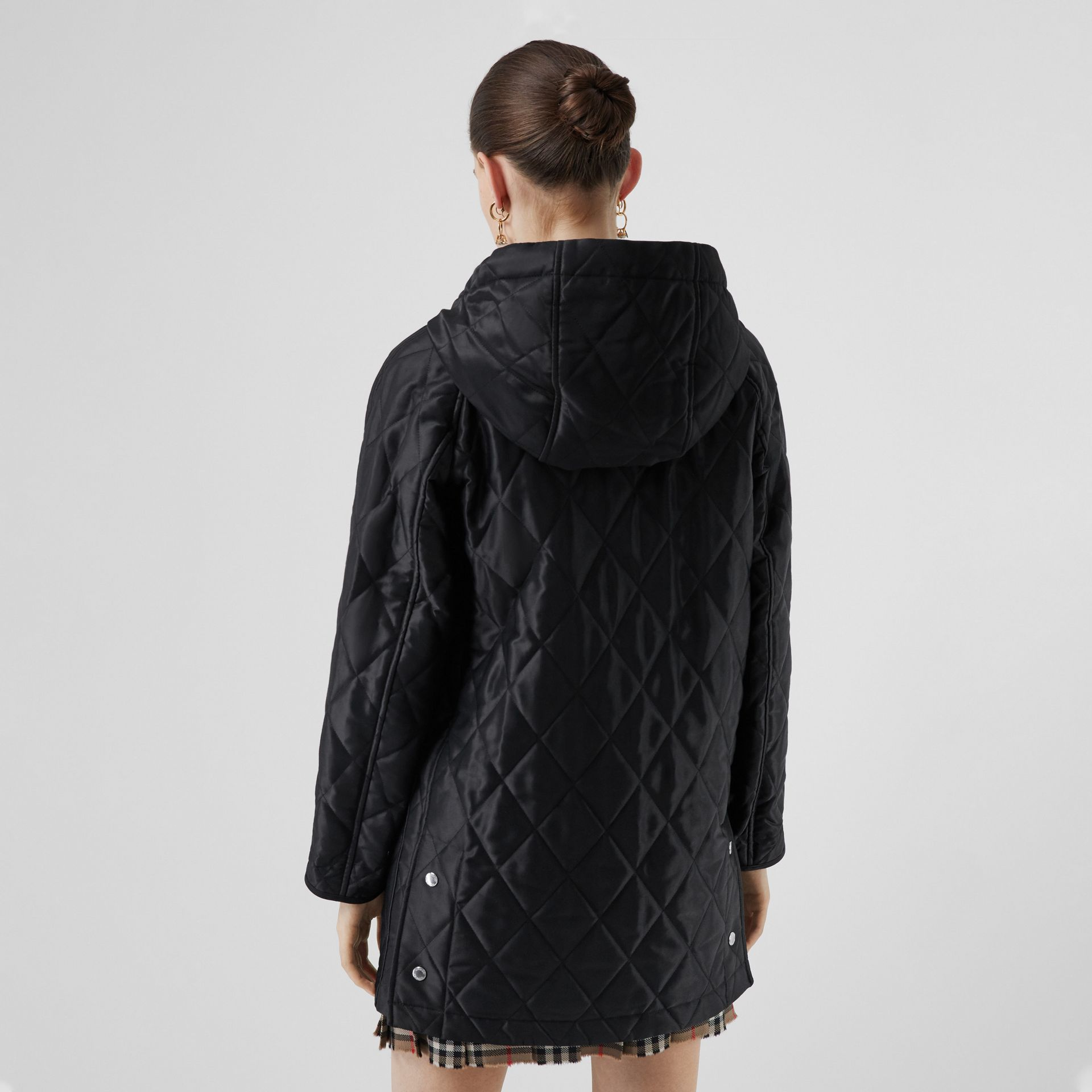 Diamond Quilted Cotton Hooded Coat in Black - Women | Burberry - gallery image 2