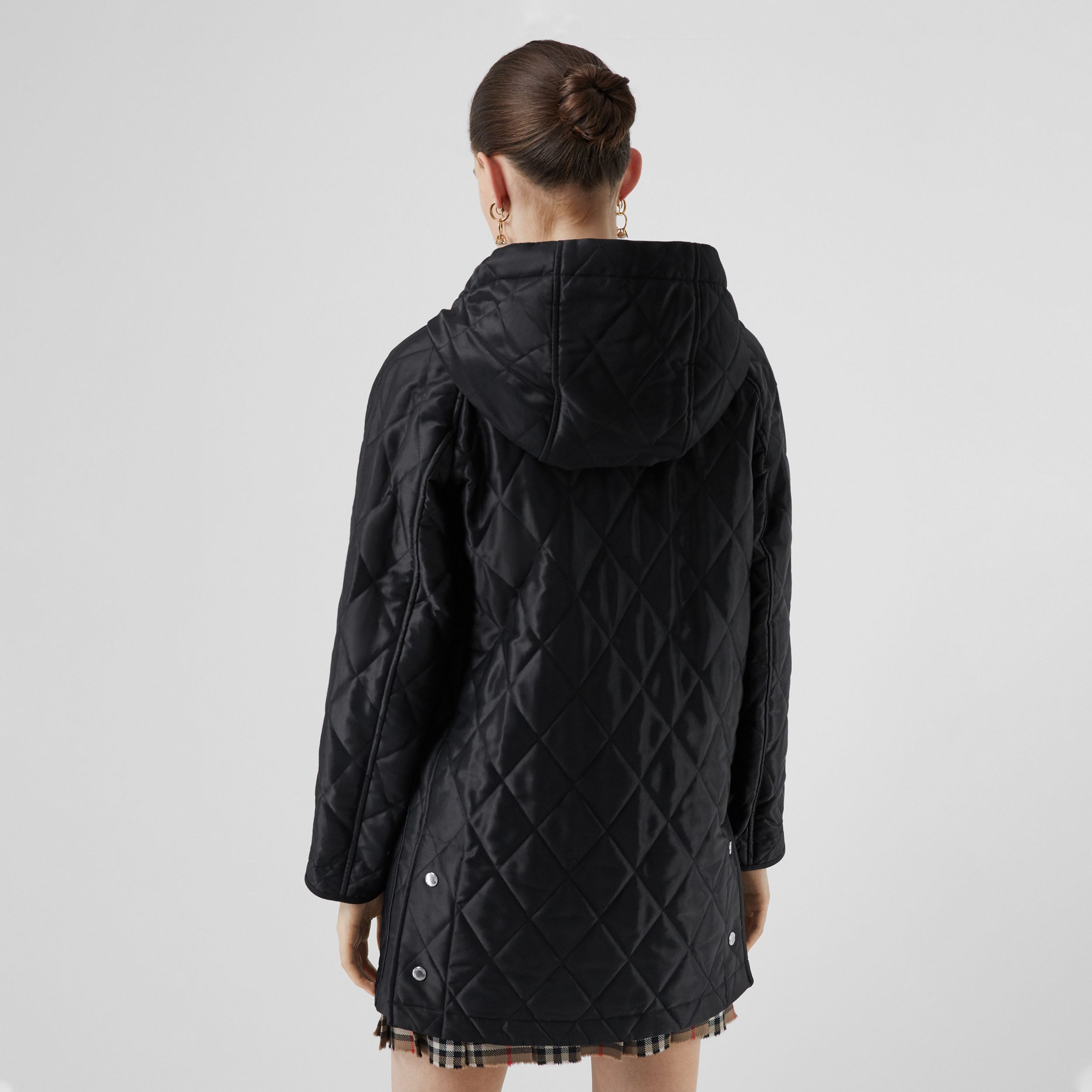 Diamond Quilted Cotton Hooded Coat in Black - Women | Burberry - 3