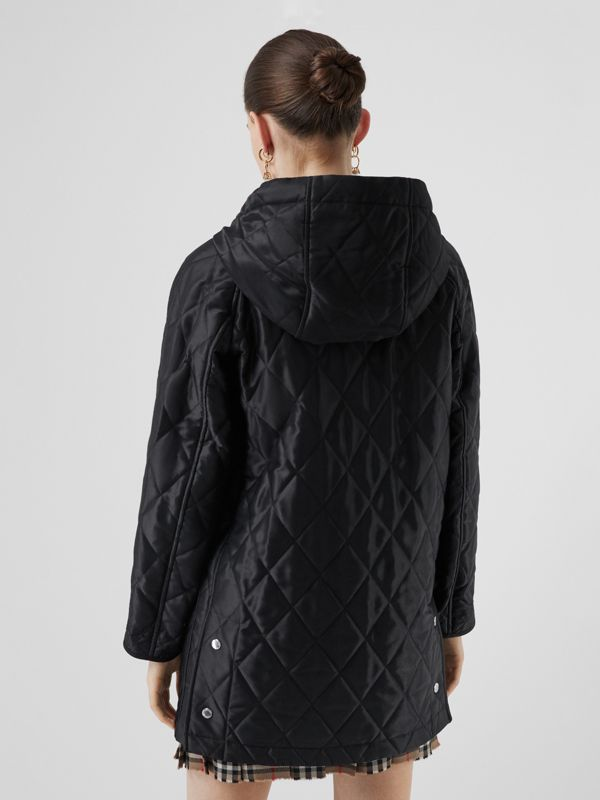 Diamond Quilted Cotton Hooded Coat in Black - Women | Burberry - cell image 2