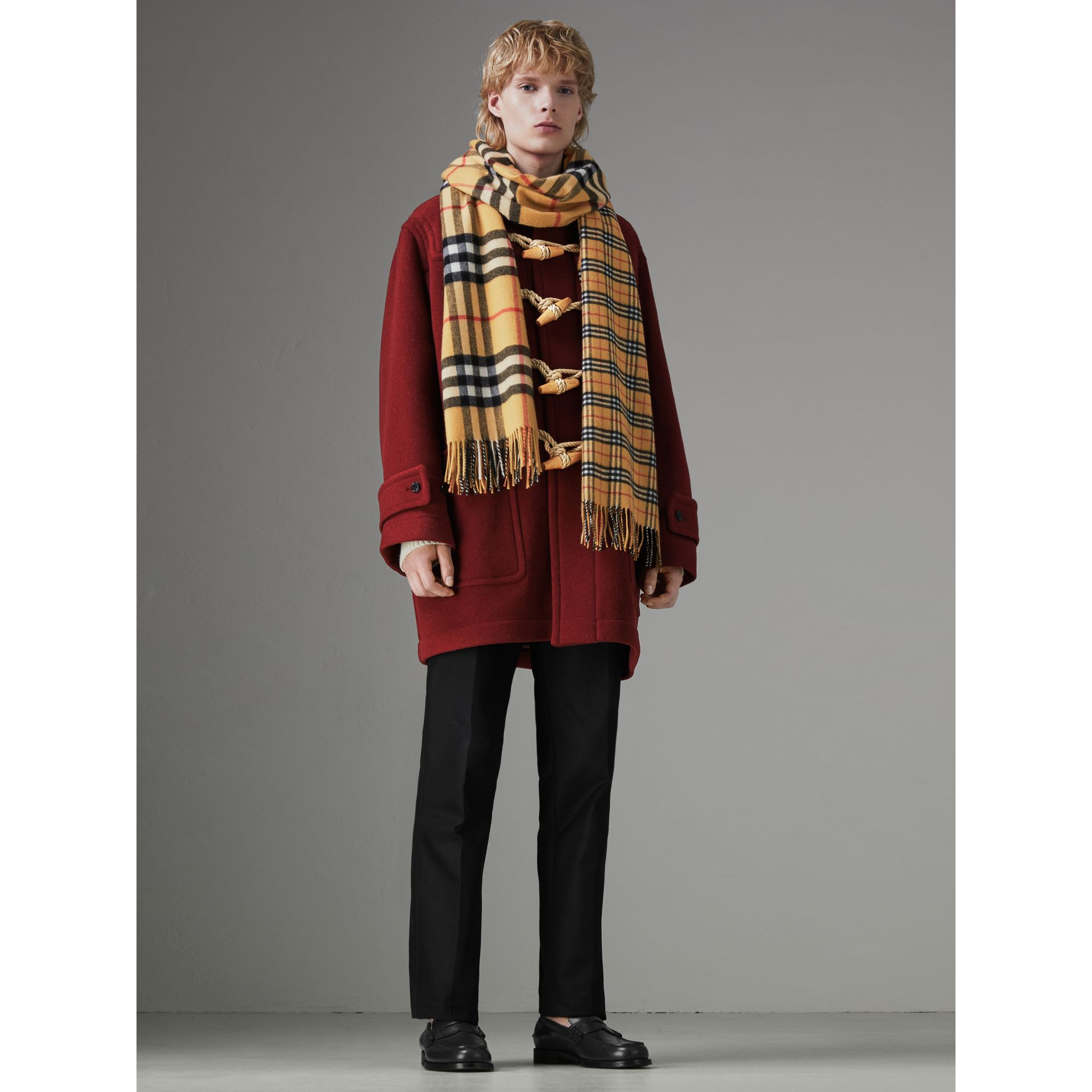 Gosha x Burberry Check Cashmere Double Scarf in Antique Yellow | Burberry - gallery image 3