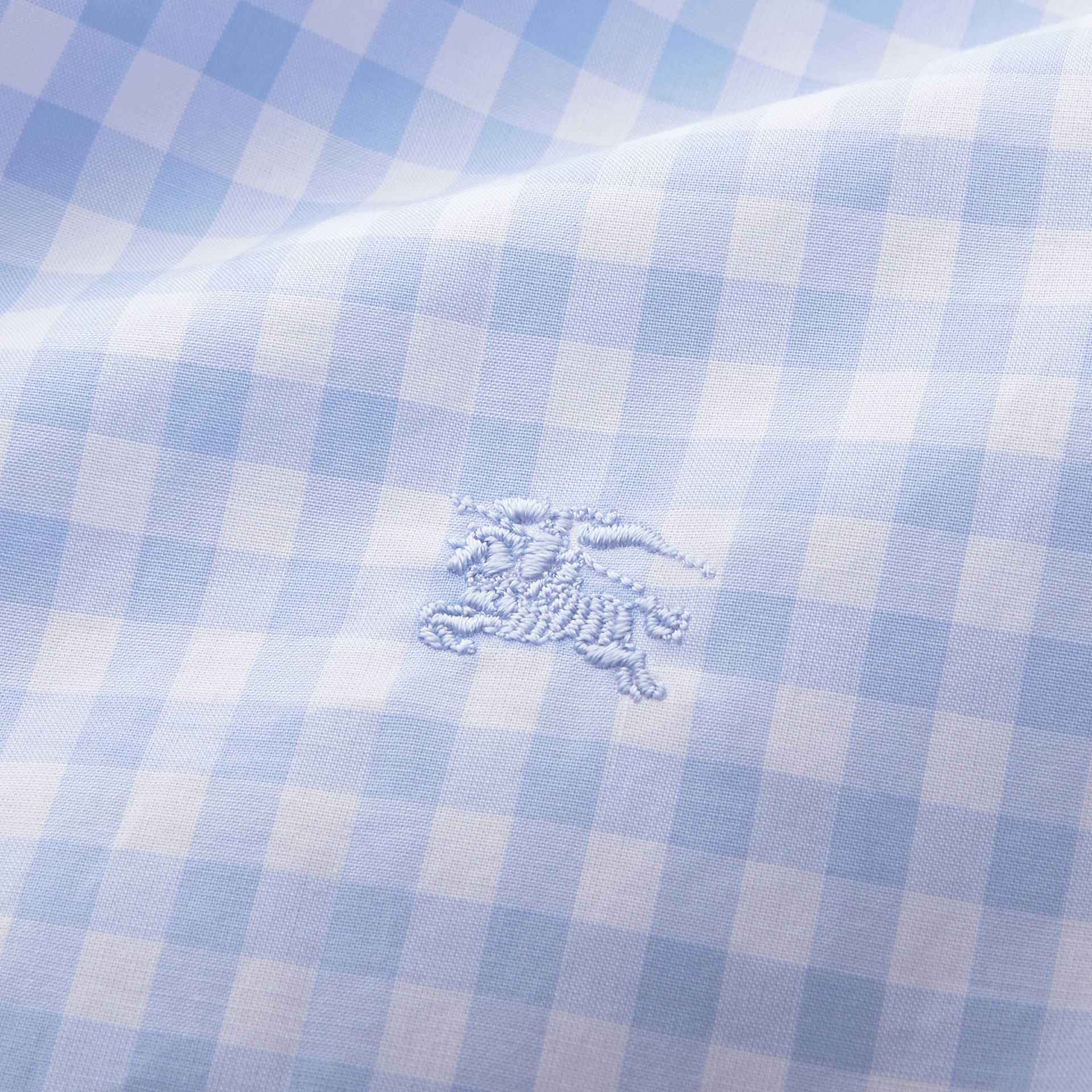 Button-down Collar Gingham Cotton Shirt Pale Blue - gallery image 2