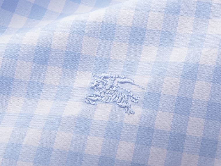 Button-down Collar Gingham Cotton Shirt Pale Blue - cell image 1