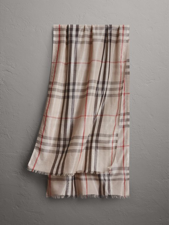 Metallic Check Silk and Wool Scarf in Stone/ Silver