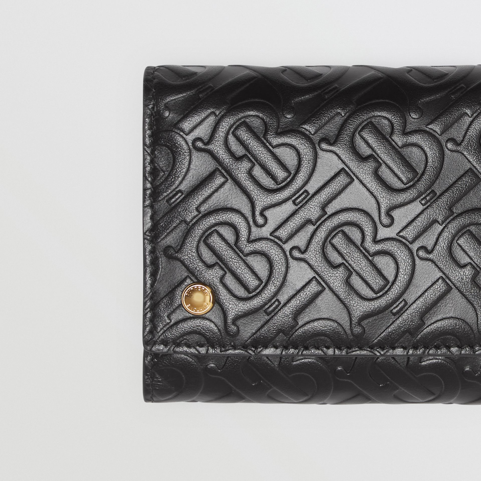 Small Monogram Leather Folding Wallet in Black - Women | Burberry - gallery image 1