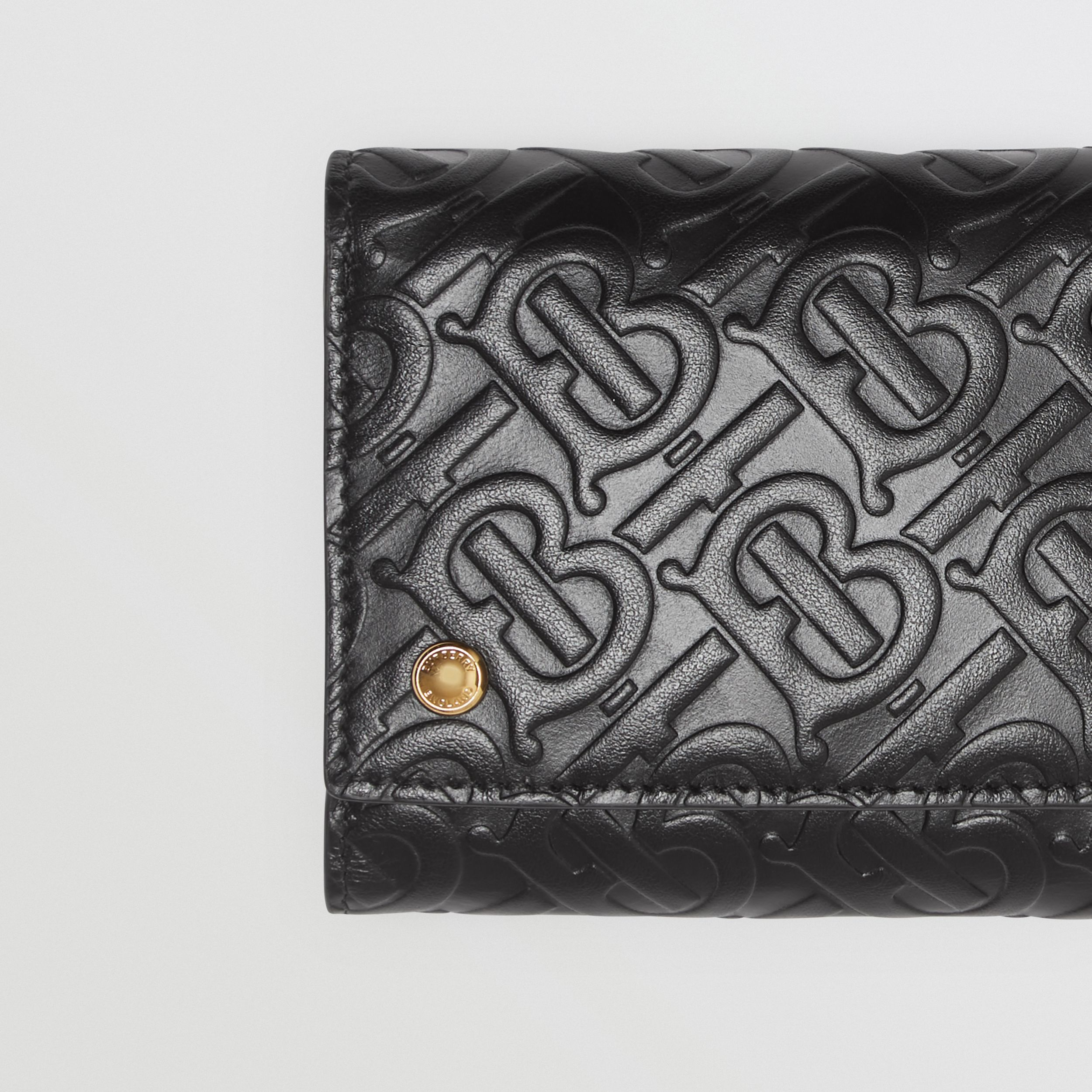 Small Monogram Leather Folding Wallet in Black - Men | Burberry - 2