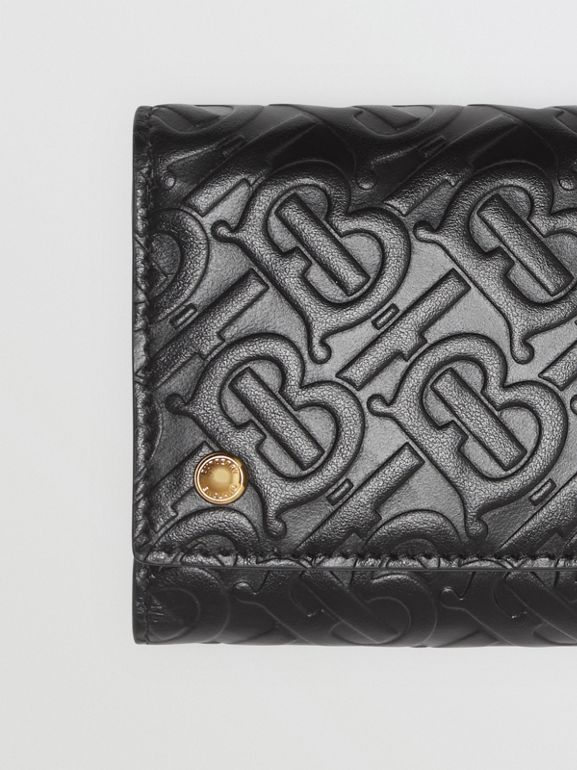 Small Monogram Leather Folding Wallet in Black | Burberry Australia - cell image 1