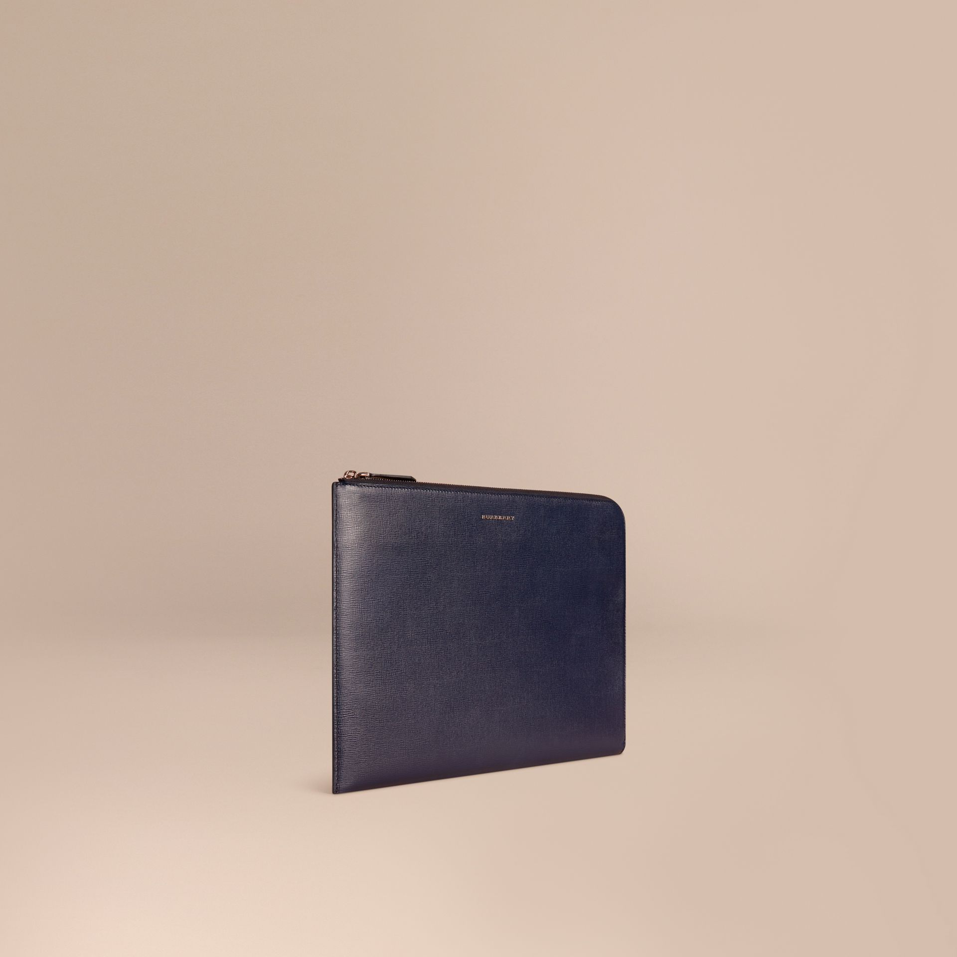 Dark navy London Leather Document Case Dark Navy - gallery image 1