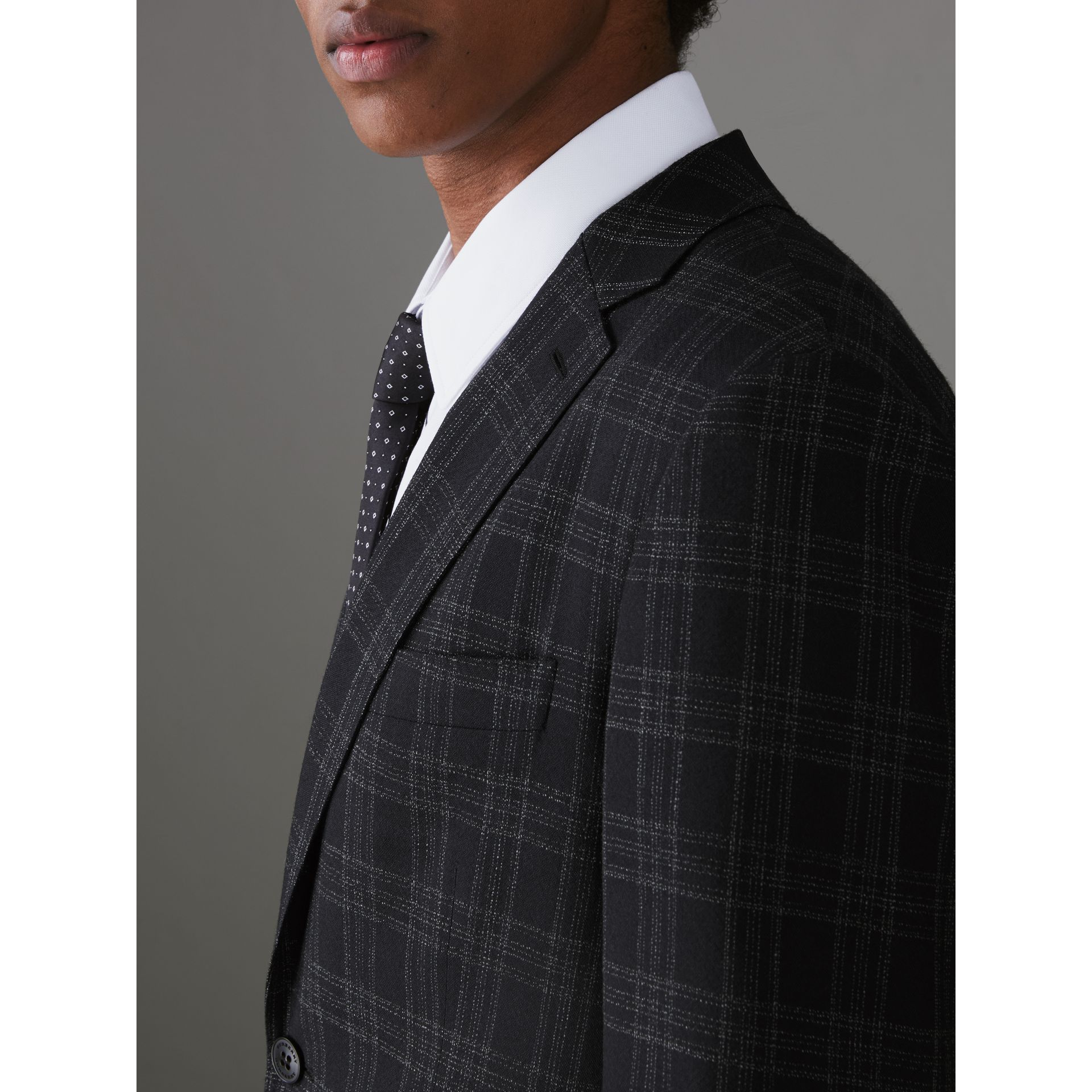 Soho Fit Check Wool Suit in Black - Men | Burberry - gallery image 1