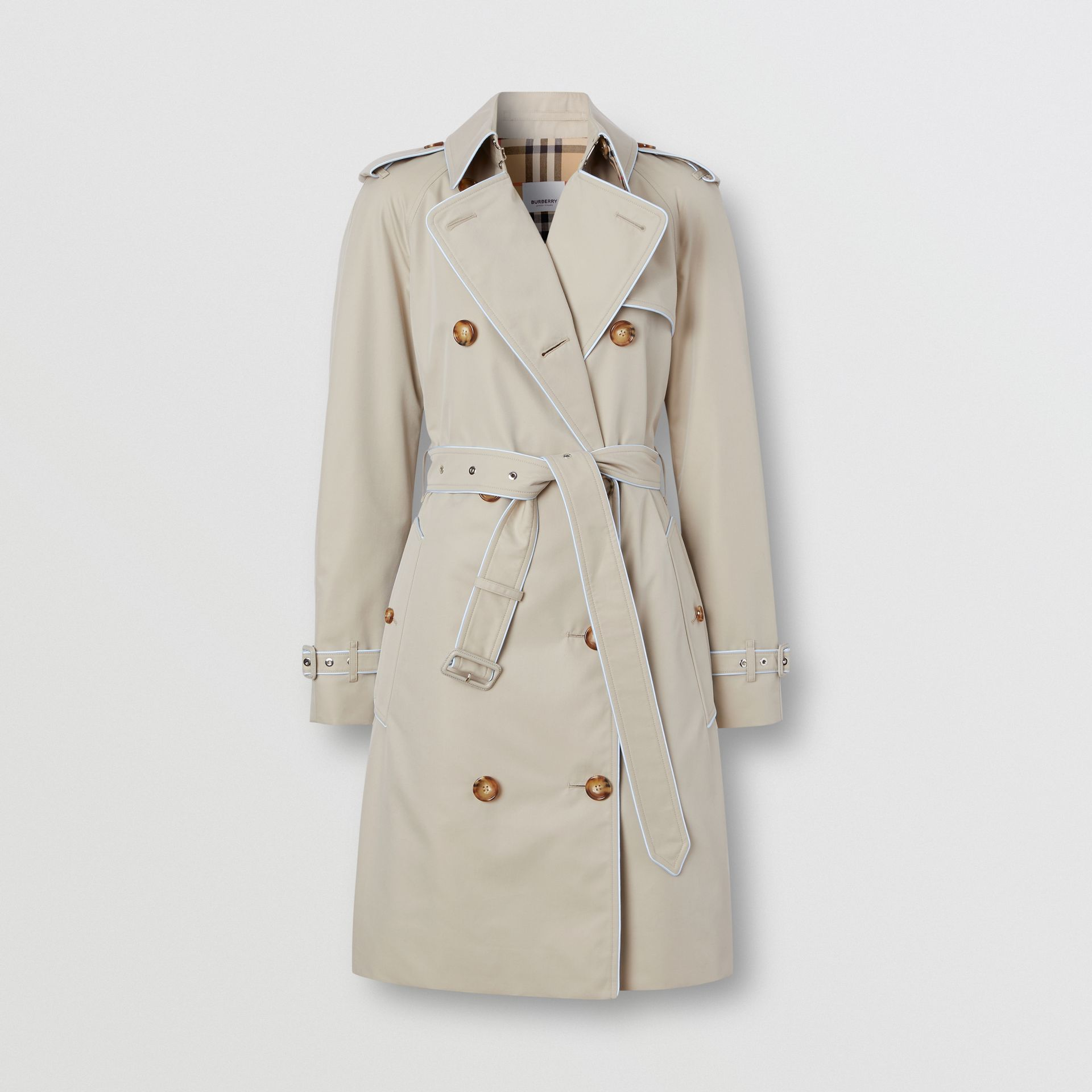 Piped Cotton Gabardine Trench Coat in Stone - Women | Burberry - gallery image 3