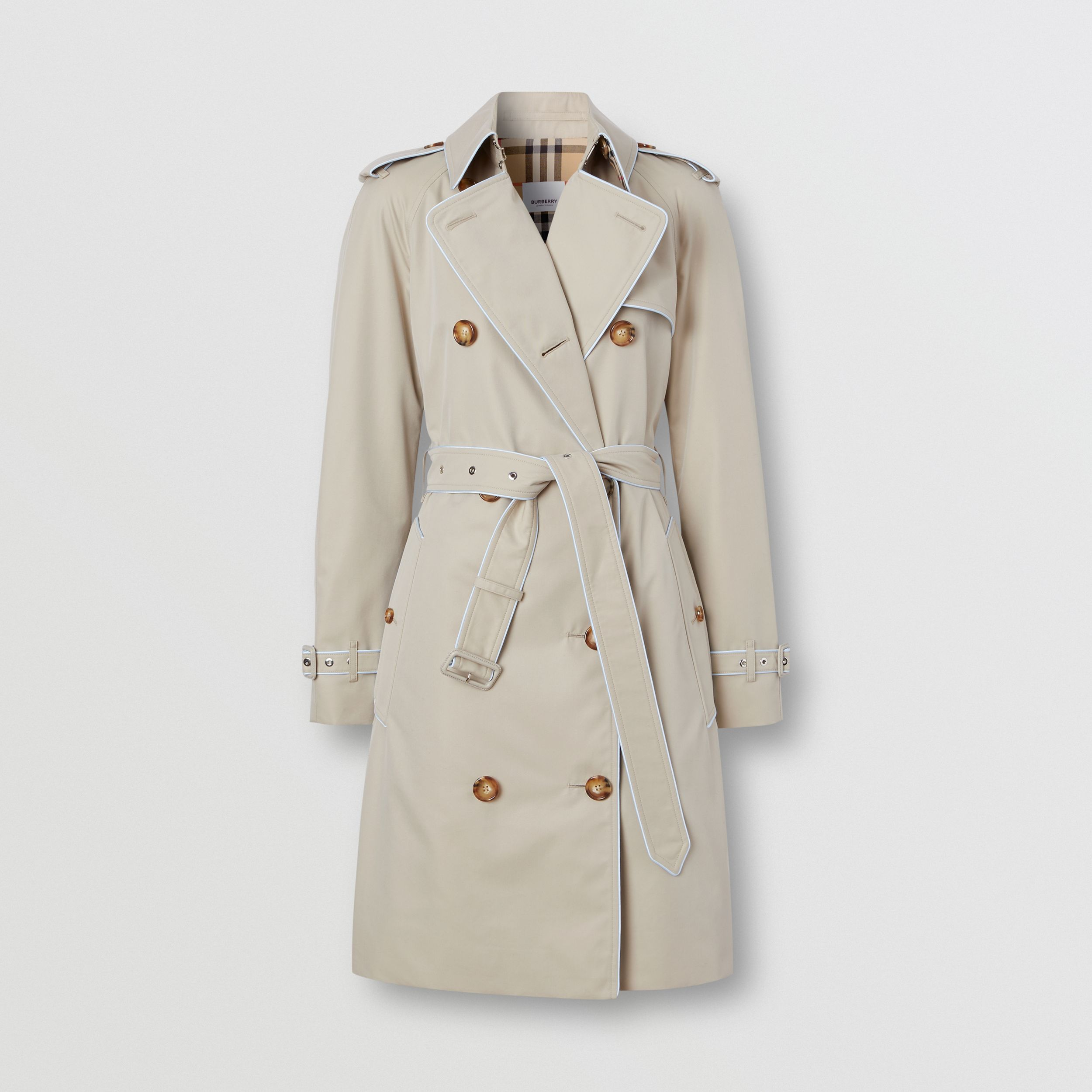 Piped Cotton Gabardine Trench Coat in Stone - Women | Burberry - 4