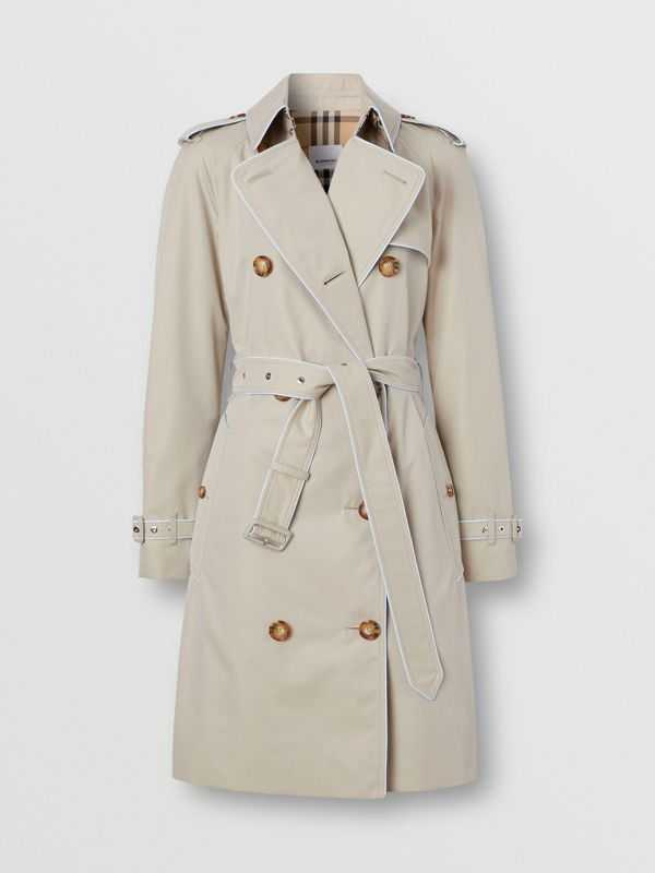 Piped Cotton Gabardine Trench Coat in Stone - Women | Burberry - cell image 3